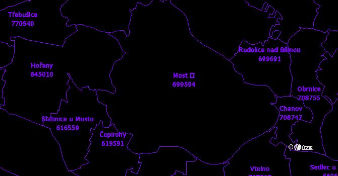 Katastrální mapa Most