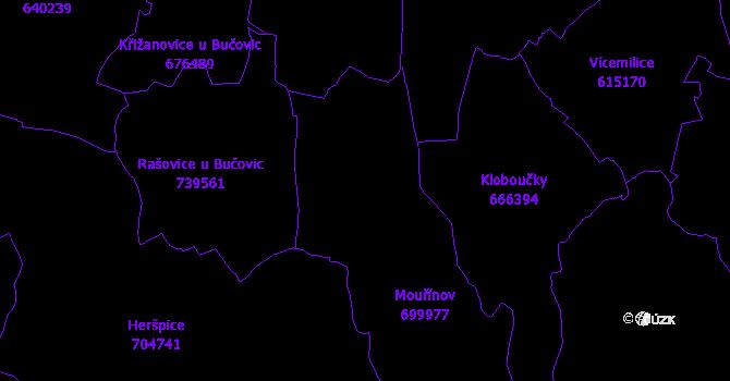 Katastrální mapa Mouřínov