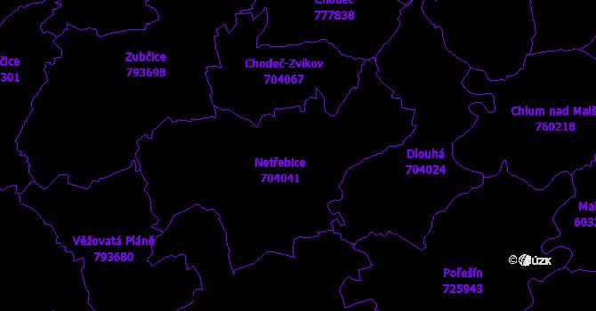 Katastrální mapa Netřebice