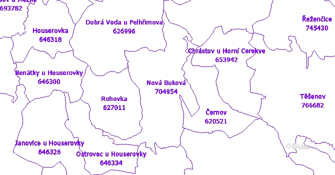 Katastrální mapa Nová Buková