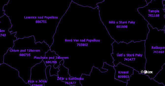 Katastrální mapa Nová Ves nad Popelkou