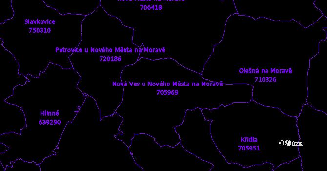 Katastrální mapa Nová Ves u Nového Města na Moravě