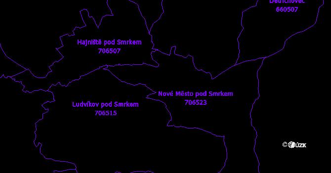 Katastrální mapa Nové Město pod Smrkem