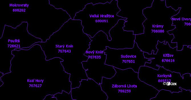 Katastrální mapa Nový Knín