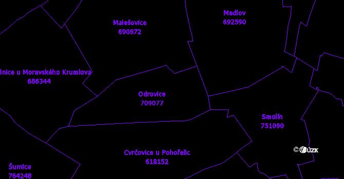 Katastrální mapa Odrovice