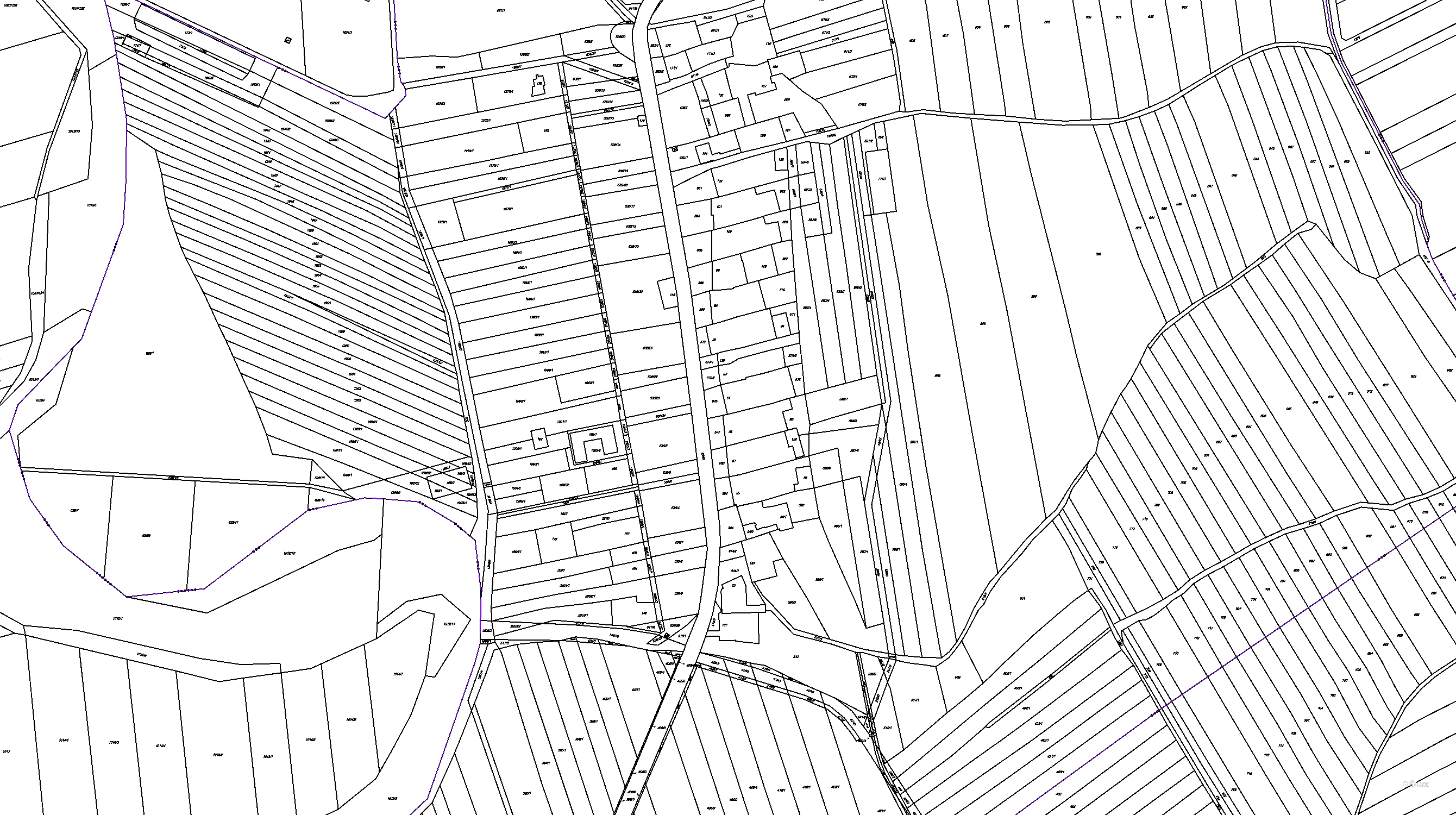 Katastrální mapy pozemků a čísla parcel obce