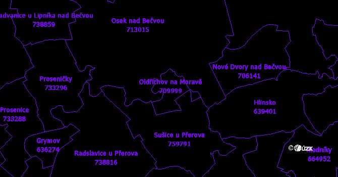 Katastrální mapa Oldřichov