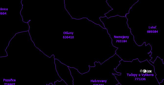 Katastrální mapa Olšany