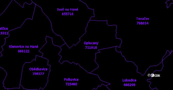 Katastrální mapa Oplocany