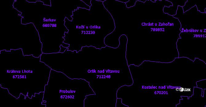 Katastrální mapa Orlík nad Vltavou