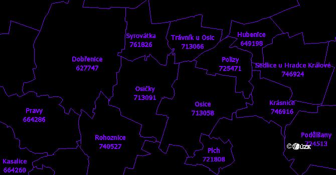 Katastrální mapa Osičky