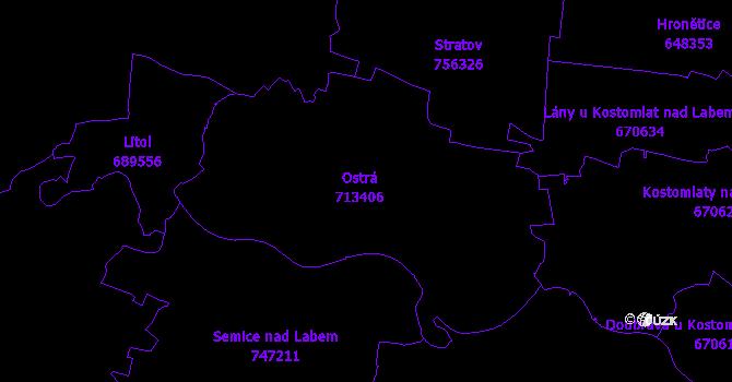 Katastrální mapa Ostrá