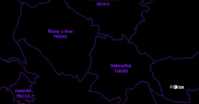 Katastrální mapa Ostrovačice