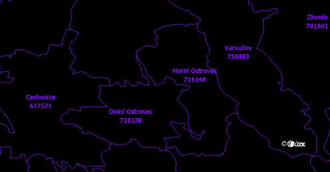 Katastrální mapa Ostrovec