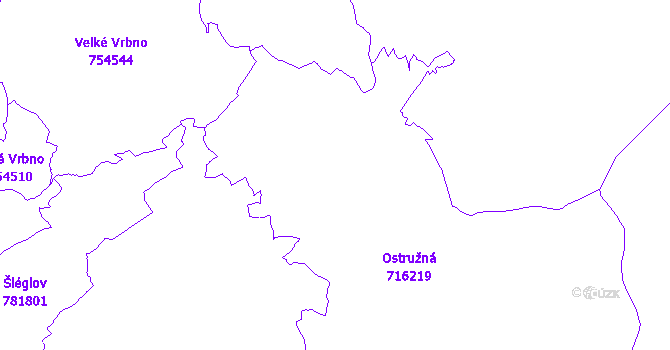 Katastrální mapa Ostružná