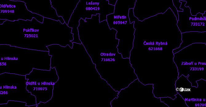 Katastrální mapa Otradov