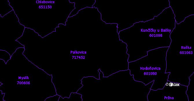 Katastrální mapa Palkovice