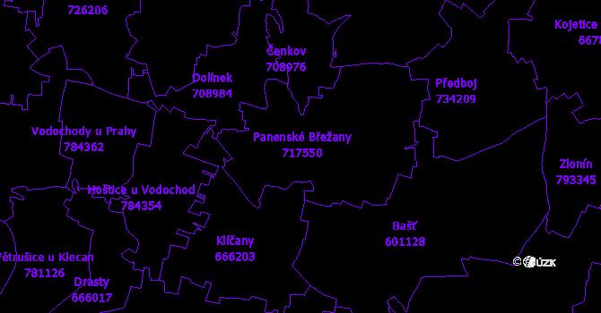 Katastrální mapa Panenské Břežany