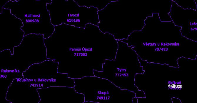 Katastrální mapa Panoší Újezd