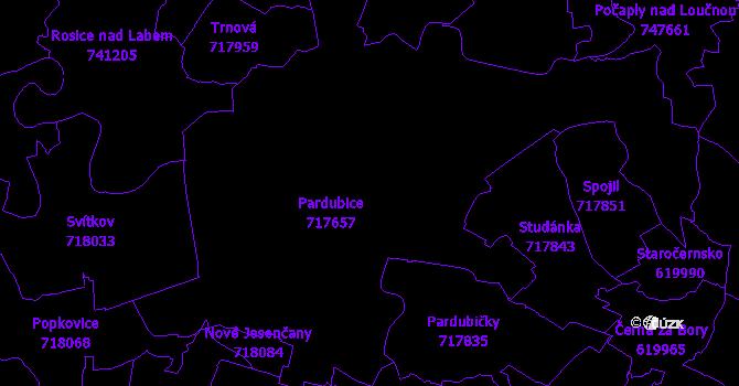 Katastrální mapa Pardubice