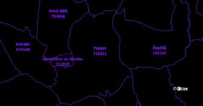 Katastrální mapa Paskov