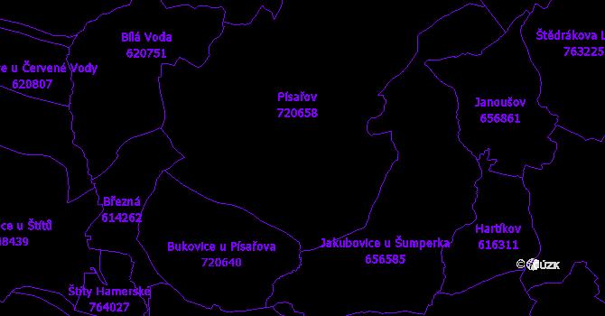 Katastrální mapa Písařov