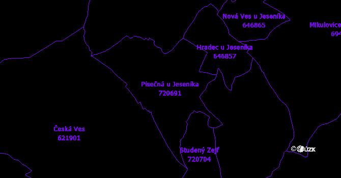 Katastrální mapa Písečná