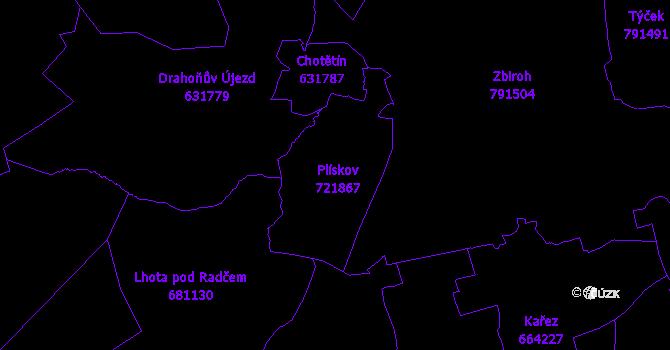 Katastrální mapa Plískov