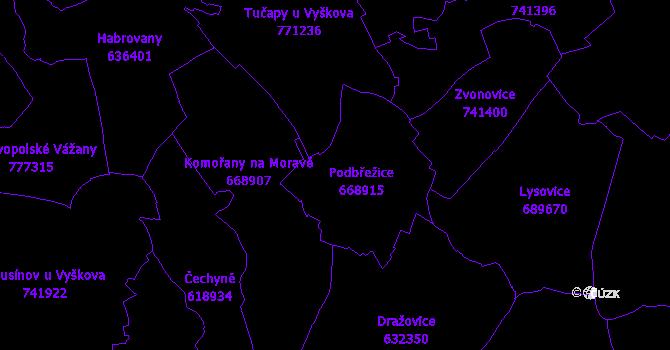 Katastrální mapa Podbřežice