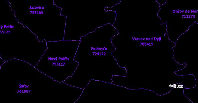 Katastrální mapa Podmyče