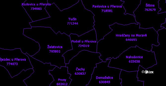 Katastrální mapa Podolí