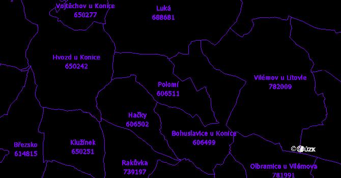 Katastrální mapa Polomí