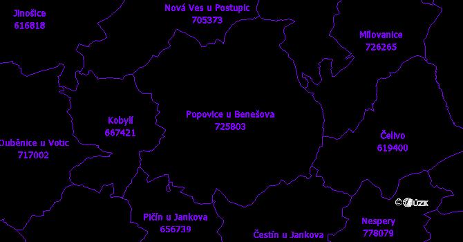 Katastrální mapa Popovice