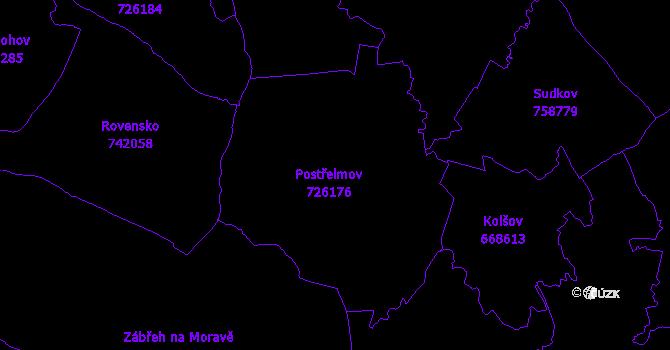Katastrální mapa Postřelmov