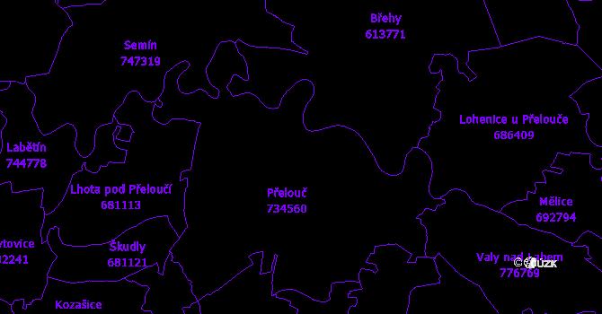 Katastrální mapa Přelouč