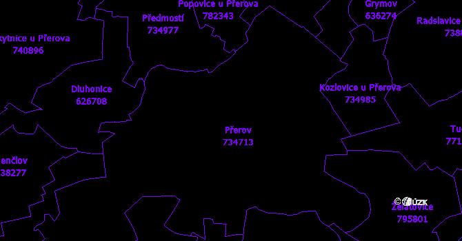Katastrální mapa Přerov