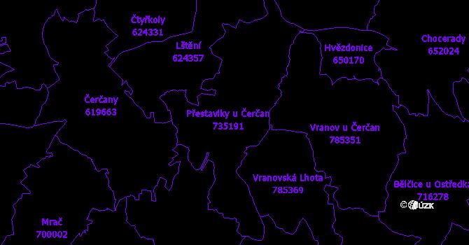 Katastrální mapa Přestavlky u Čerčan