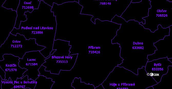 Katastrální mapa Příbram