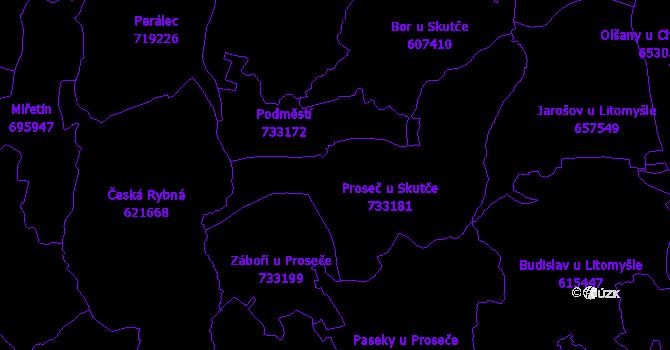 Katastrální mapa Proseč