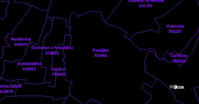 Katastrální mapa Prostějov