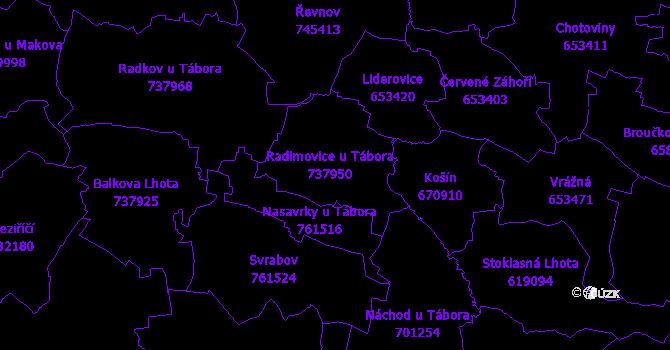 Katastrální mapa Radimovice u Tábora