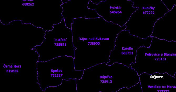 Katastrální mapa Rájec-Jestřebí