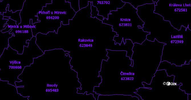 Katastrální mapa Rakovice