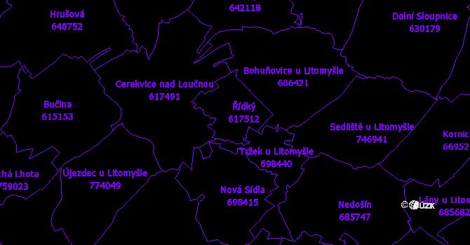 Katastrální mapa Řídký