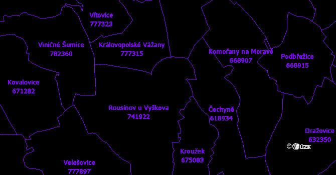 Katastrální mapa Rousínov