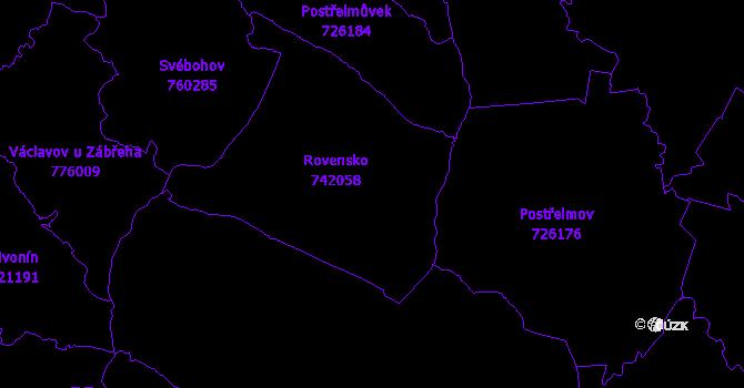 Katastrální mapa Rovensko