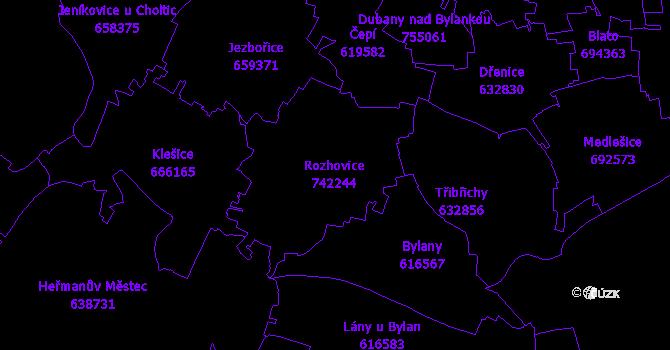 Katastrální mapa Rozhovice
