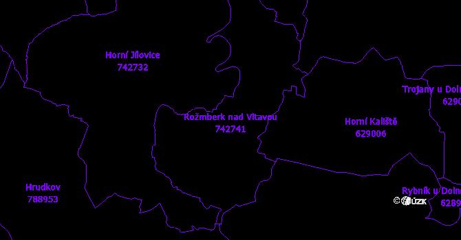 Katastrální mapa Rožmberk nad Vltavou