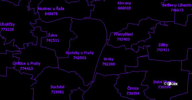 Katastrální mapa Roztoky