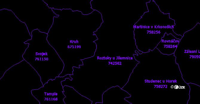 Katastrální mapa Roztoky u Jilemnice